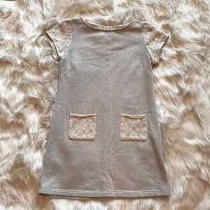 Gray and White Laced pocket dress size small